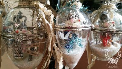 Snow scene ornaments
