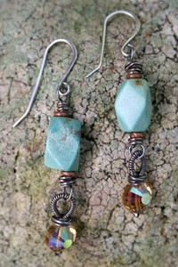 Turquoisecrystaldropearrings